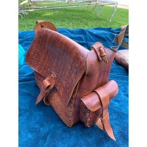 70s Tooled MultiPocket Leather Bag Boho Hippie